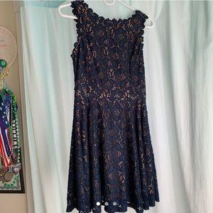 formal navy blue lace dress